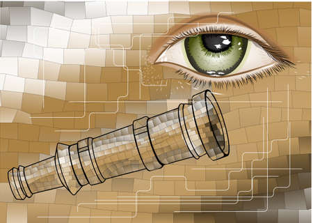 ocular: telescope and eye. mosaic conceptual science background Illustration
