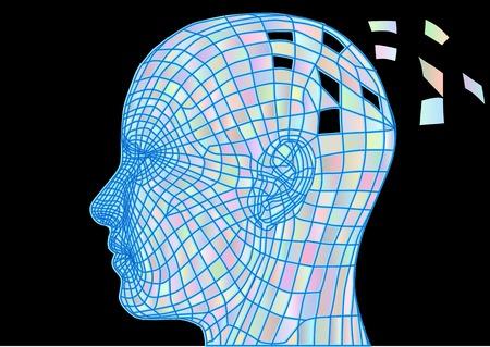 백치. 정신 질환의 simbol와 인간의 머리의 추상 실루엣 일러스트