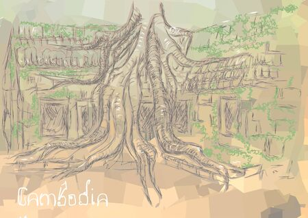ancient civilization: Cambodia. abstract silhouette of the temple covered with moss Illustration