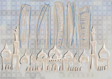 minaret: abu dhabi. abstract silhouette of city on dark background Illustration