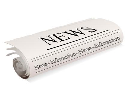 白い背景に新聞。
