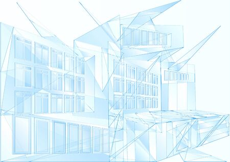 multistory: modern architecture. abstract blue geometric backgroud