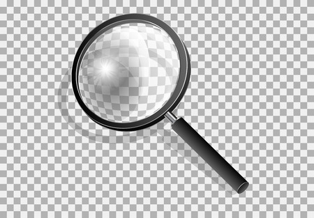 Transparency magnifying glass on a gray background