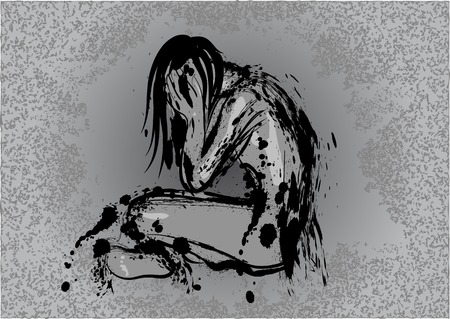 grief: dark depression. abstract human silhouette on dark background Illustration