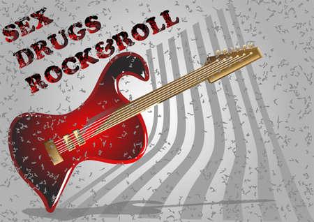 simbol: chitarra simbol. chitarra elettrica con il testo grunge. Stile heavy metal.
