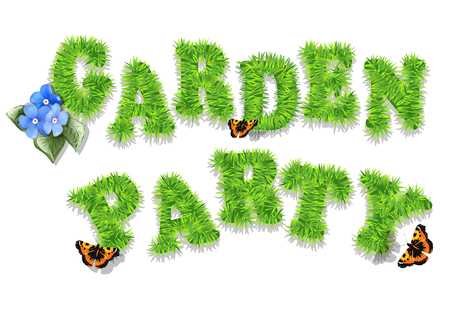 garden party invitation with grass and butterfly