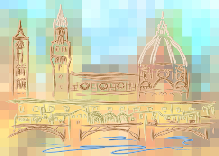 tuscan: florence. abstract silhouette of city isolated on a white background