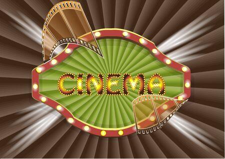 cinematograph: cinema backgrouhnd. cinema banner with stripe roll Illustration