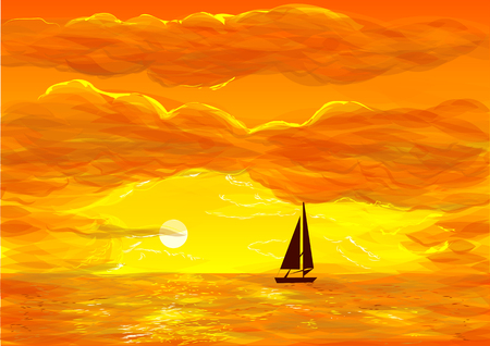 sunning: sailing boat again a red sunning sky