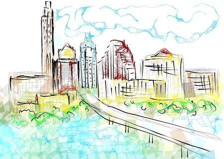 오스틴 텍사스. 여러 가지 빛깔의 배경에 도시의 abstrct 실루엣