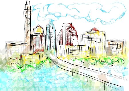 austin texas. abstrct silhouette of city on multicolor background Illustration