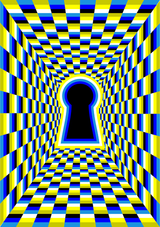 optical illusion with hole. abstract tunnel illusion