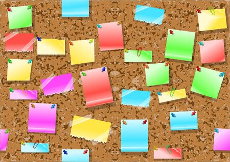 corkboard: post it notes background. seamless corkboard with multicolor post it