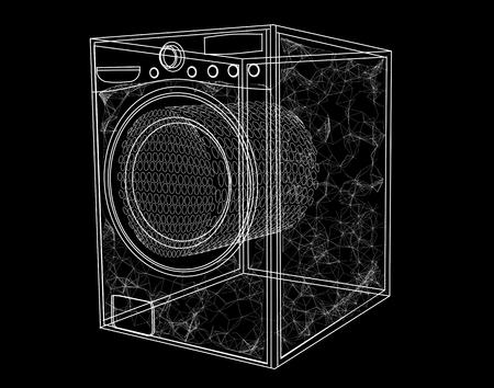 simbol: lavatrice simbol isolato su sfondo nero Vettoriali