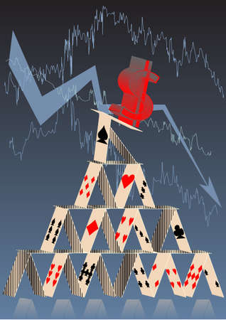 house exchange: stock exchange. symbol of money falls from the house of cards