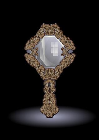 mirror frame: mirror on dark background with vintage frame