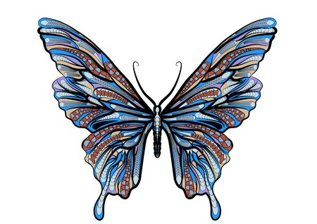 ethnic butterfly isolated on a vhite background Illustration