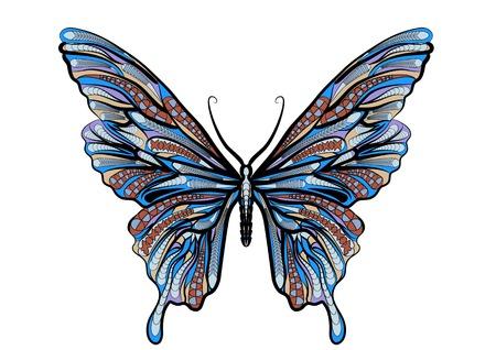 papillon ethnique isolé sur un fond vhite