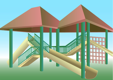 recess: school playground with stairs and slide. 10 EPS