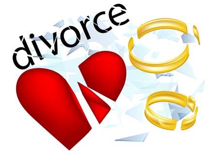 divorce: divorce. broken heard and two shattered rings