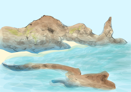 island: galapagos island. abstract drawing of part of land