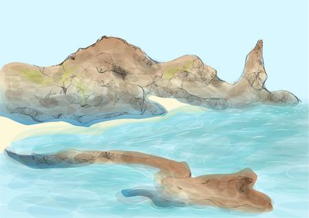 pinnacle: galapagos island. abstract drawing of part of land