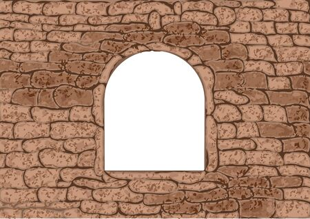 stone wall: stone window. empty white window in stone wall Illustration