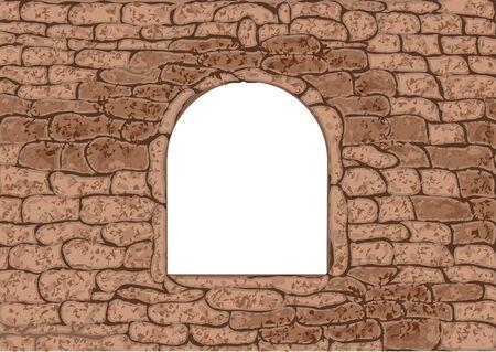 white window: stone window. empty white window in stone wall Vectores