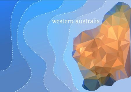 western australia: western australia. abstract map on background of blue ocean