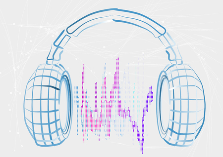soundwave: headphones and wave on abstract background