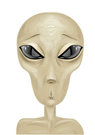 humanoid: alien on white. vector drawing of an alien