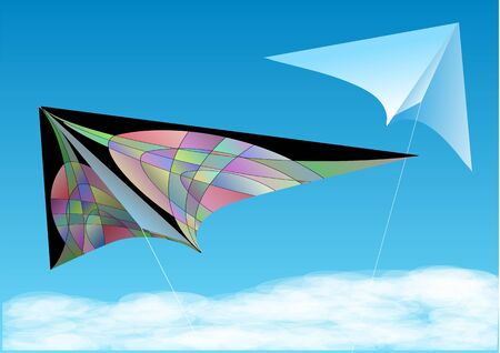 papalote: dos cometas en el cielo azul con nubes