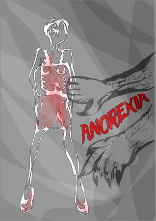 anorexia: anorexia. disease and eating disorder medical concept