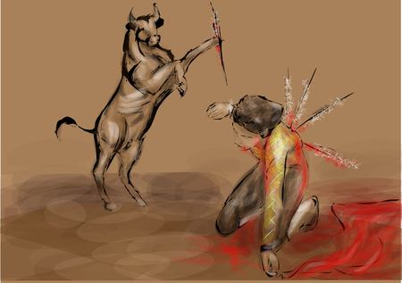reverse: reverse bullfighter. changed the role of the bullfighter and bull Illustration