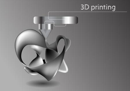 prototipo: La impresión 3D. La impresora imprime en 3D industrial modelo abstracto
