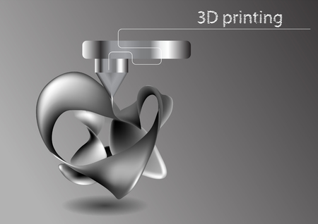 printing 3D. Industrial 3D printer prints abstract model