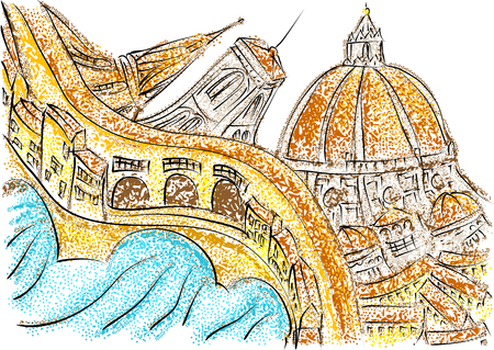old bridge: florence italy. abstract sillhouette of multicolor city Illustration