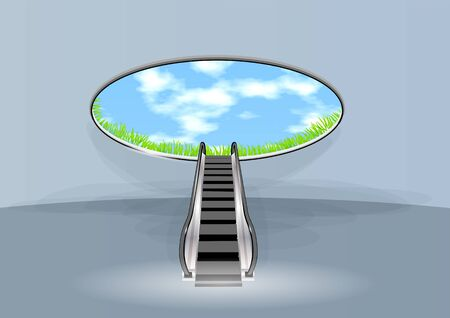 trap naar de hemel: escalator in sky. conceptual stairway to success