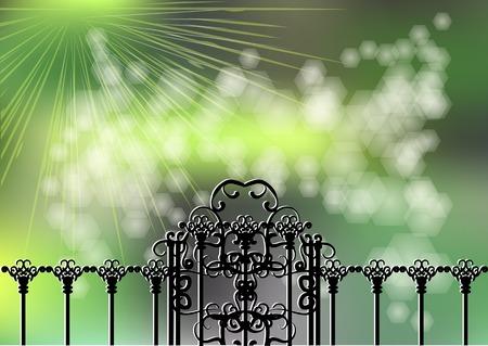 garden gate: garden gate on green background with light