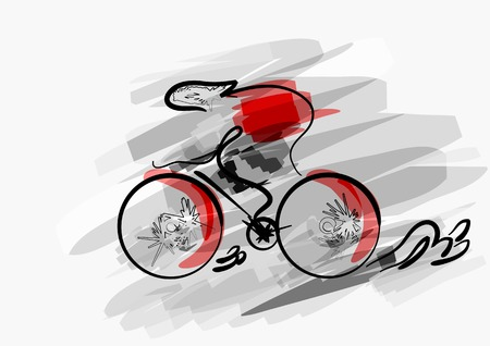 bicycling: abstract cycling. abstract silhouette of man on bike