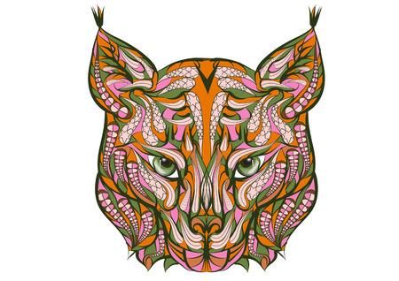 bobcat: ethnic lynx isolated on a white background