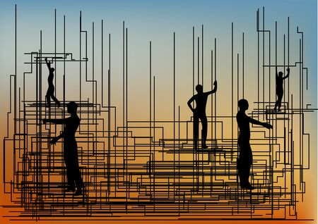 obreros trabajando: construction.  group of workers working at a construction site.