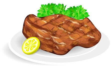 food dish: steak on a white plate isolated on empty background Illustration