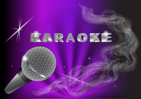 live music: karaoke. live music background.vintage microphone and light