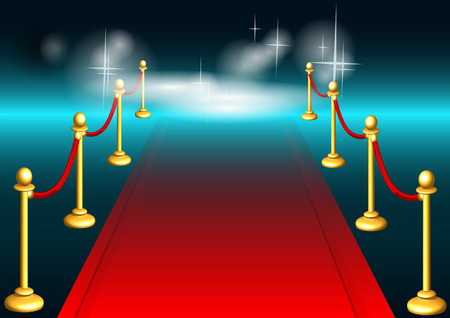 red carpet: red carpet and light. abstract festive background. Illustration