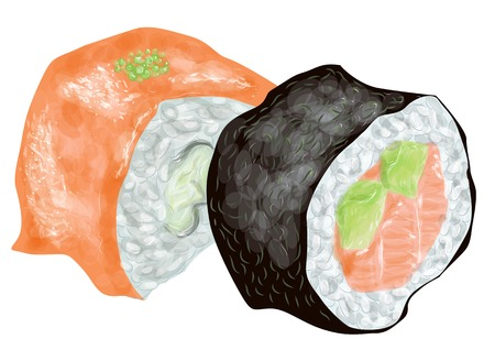 two piece: sushi. two piece isolated on a white