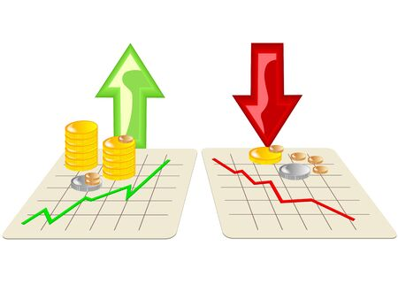 stock market graph: stock market icons with arrows on white background Illustration