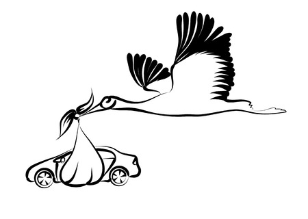 excite: Stork and car isolated on a white background