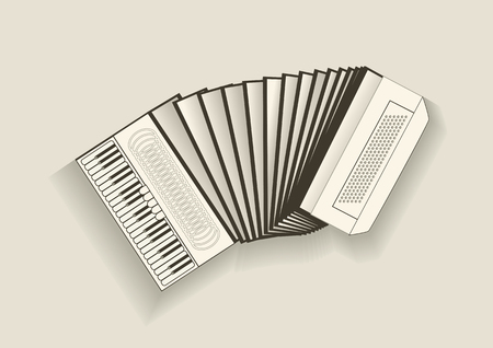 keyboard instrument: vintage accordion on biedge background.   Illustration