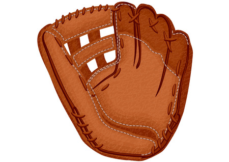 leather stitch: baseball glove isolated on a white background Illustration